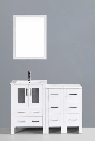 "Bosconi AW124U2S 48"" White Single Vanity"