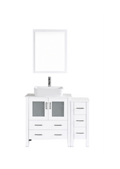 "Bosconi AW130RC1S 42"" White Single Vanity"