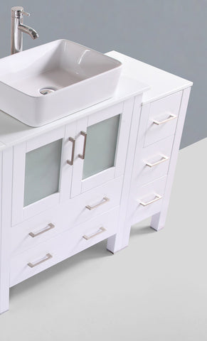 "Bosconi AW130RC2S 54"" White Single Vanity"