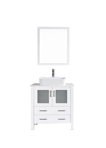 "Bosconi AW130RC 30"" White Single Vanity"