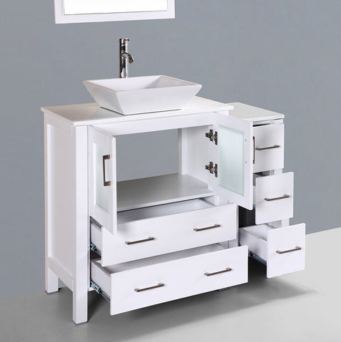 "Bosconi AW130S1S 42"" White Single Vanity"