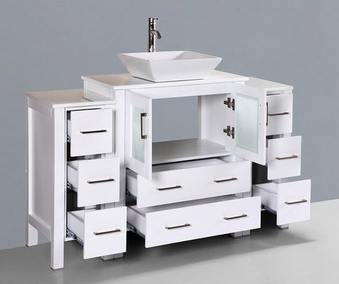 "Bosconi AW130S2S 54"" White Single Vanity"