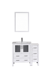 "Bosconi AW130U1S 42"" White Single Vanity"