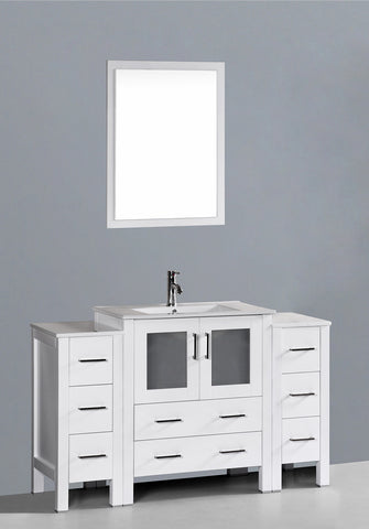 "Bosconi AW130U2S 54"" White Single Vanity"