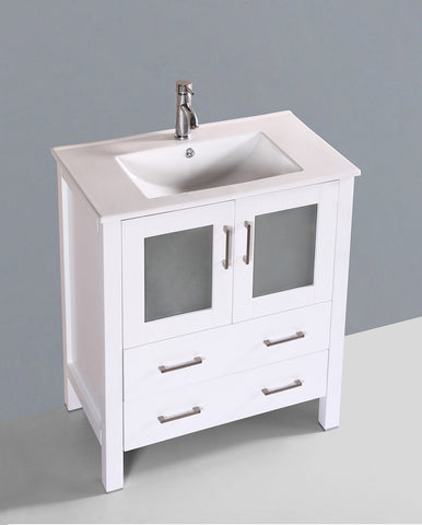 "Bosconi AW130U 30"" White Single Vanity"