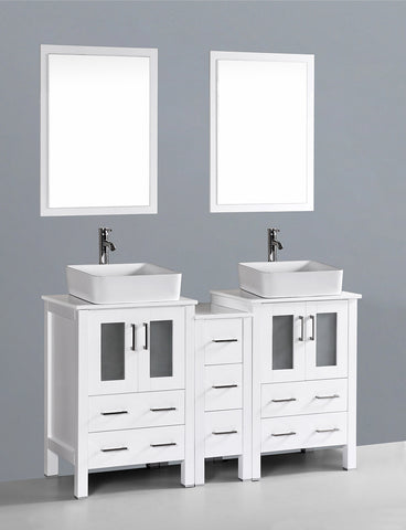 "Bosconi AW224RC1S 60"" White Double Vanity"
