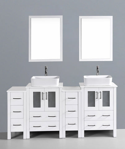 "Bosconi AW224RC2S 72"" White Double Vanity"