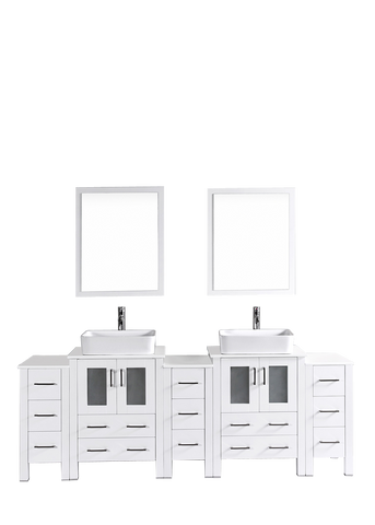 "Bosconi AW224RC3S 84"" White Double Vanity"