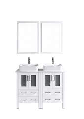 "Bosconi AW224RC 48"" White Double Vanity"