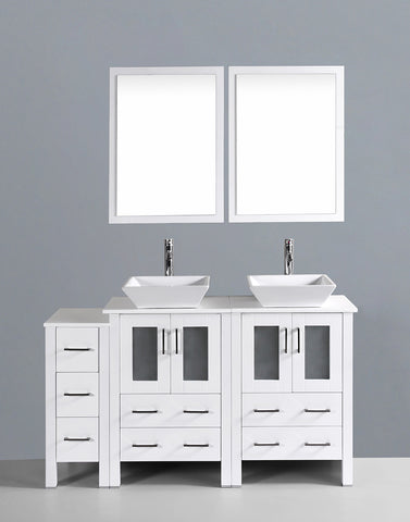 "Bosconi AW224S1S 60"" White Double Vanity"