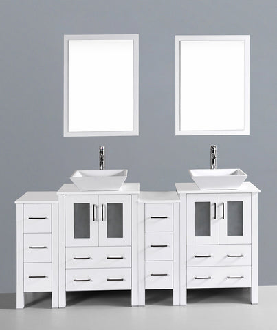 "Bosconi AW224S2S 72"" White Double Vanity"