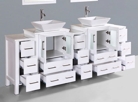 "Bosconi AW224S3S 84"" White Double Vanity"