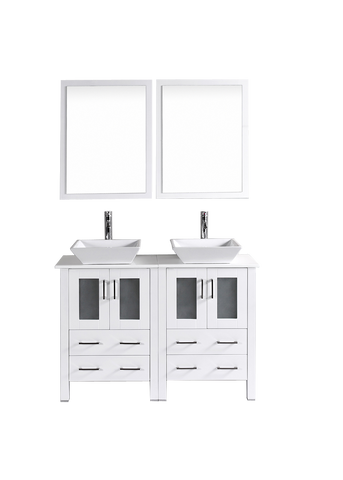 "Bosconi AW224S 48"" White Double Vanity"