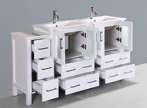 "Bosconi AW224U1S 60"" White Double Vanity"