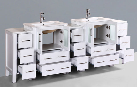 "Bosconi AW224U3S 84"" White Double Vanity"