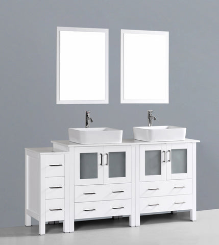 "Bosconi AW230RC1S 72"" White Double Vanity"