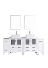 "Bosconi AW230RC2S 84"" White Double Vanity"