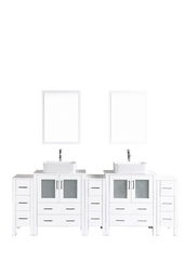 "Bosconi AW230RC3S 96"" White Double Vanity"