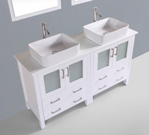 "Bosconi AW230RC 60"" White Double Vanity"