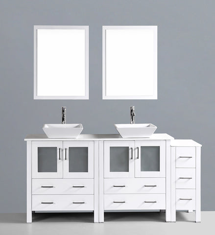 "Bosconi AW230S1S 72"" White Double Vanity"