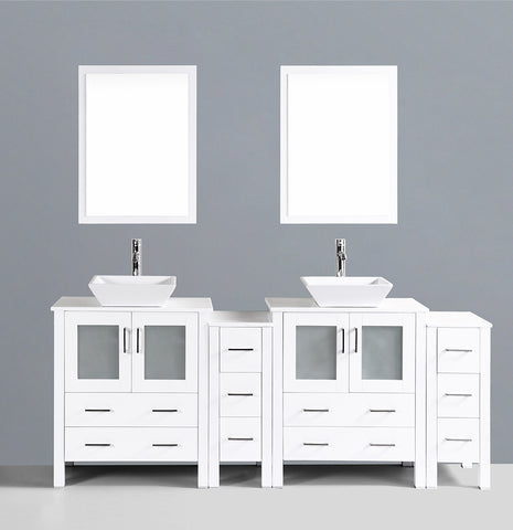 "Bosconi AW230S2S 84"" White Double Vanity"