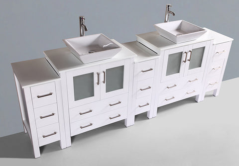 "Bosconi AW230S3S 96"" White Double Vanity"
