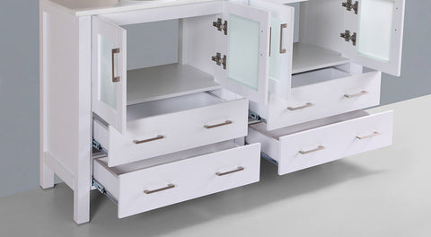 "Bosconi AW230S 60"" White Double Vanity"