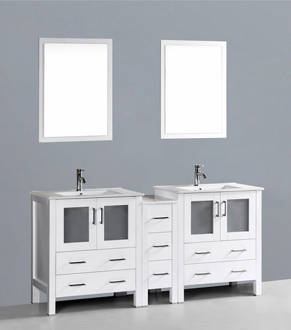 "Bosconi AW230U1S 72"" White Double Vanity"