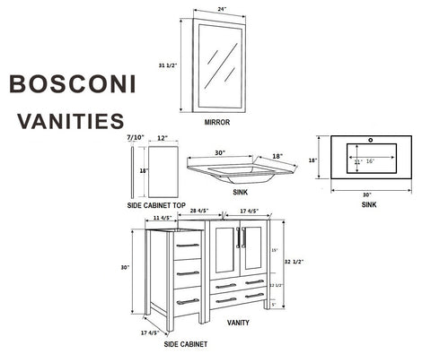 "Bosconi AW230U2S 84"" White Double Vanity"