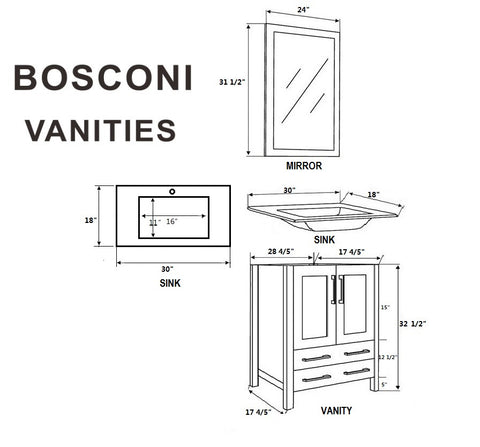 "Bosconi AW230U 60"" White Double Vanity"