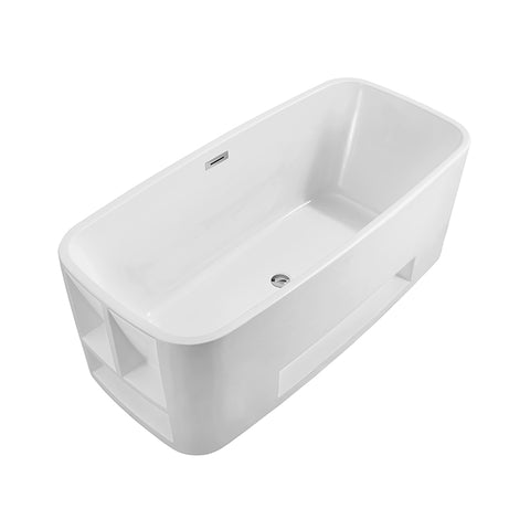 59″ Soaking Freestanding Tub With Internal Drain