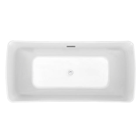 62″ Soaking Freestanding Tub With Internal Drain