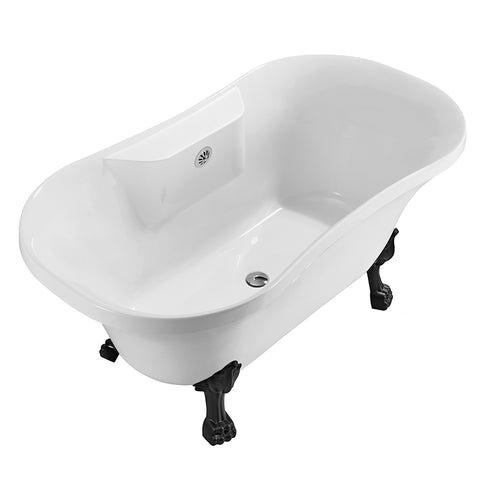 60″ Soaking Clawfoot Tub With External Drain