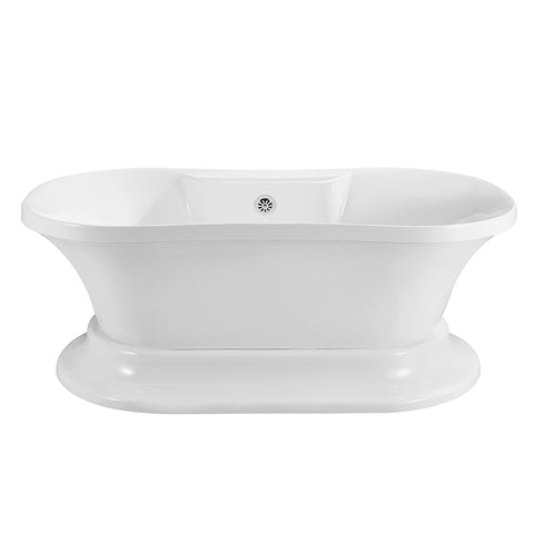 60″ Soaking Freestanding Tub With External Drain
