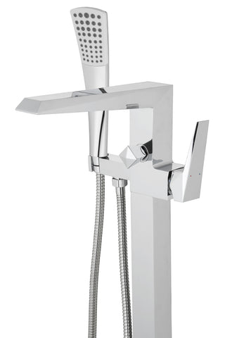Freestanding Polished Chrome Bathtub Faucet with Showerhead H-100