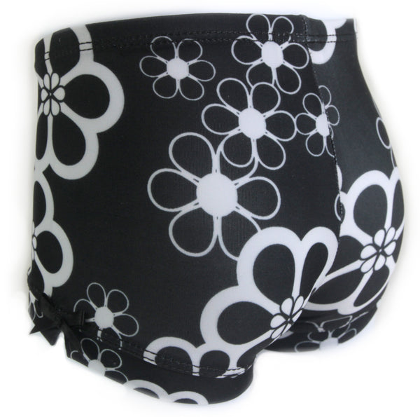 Black Floral Girls Spandex Shorts