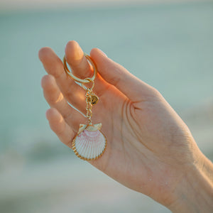 White Seashell Keychain