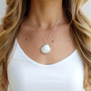 White Seashell Necklace Jewelry