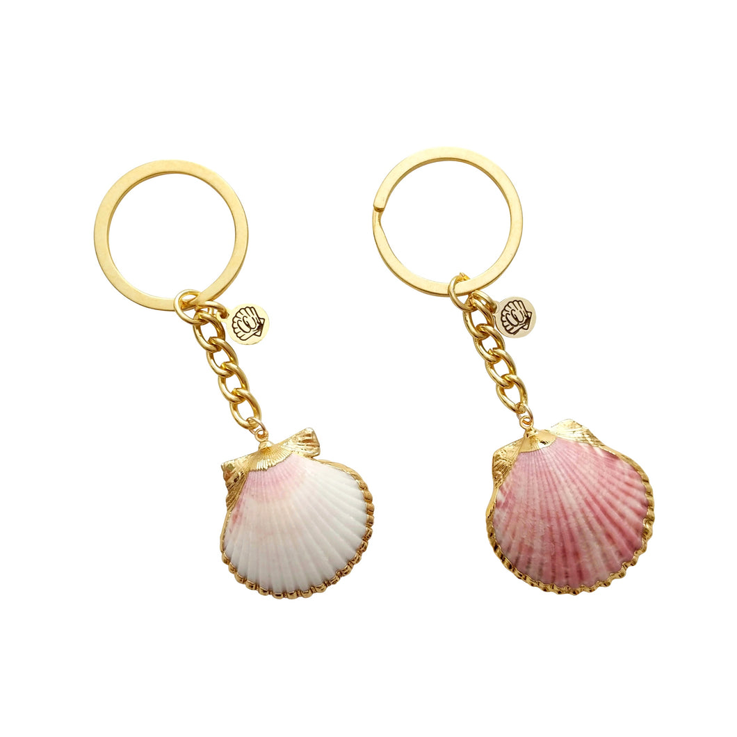 Seashell Keychains White and Red