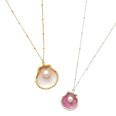 White, Pink Pearl Necklace