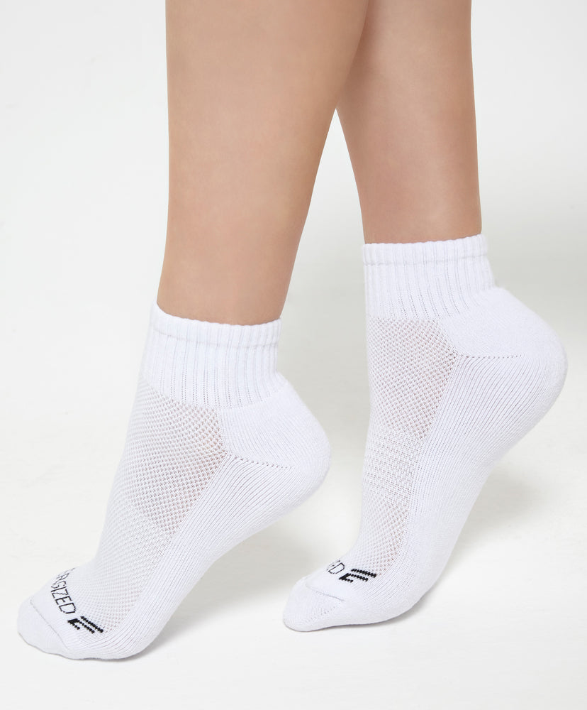 "Energized Crew White Socks <br><font size=""3"" color=""#F08080"">***Buy 4 socks for $5. Must buy at least 4 for discount</font>"