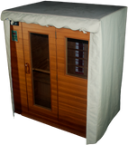 Outdoor Sauna Cover with door rolled up and secured at top
