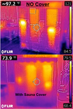 Outdoor Sauna Cover showing thermal image with and without sauna cover