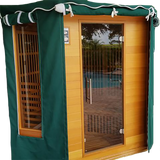 Outdoor Sauna Cover showing side window flaps add on option