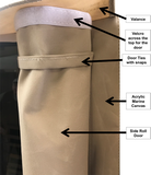 Outdoor Sauna Cover showing features of the sauna cover with close up of door rolling to side with velcro
