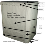 Outdoor Sauna Cover showing features of the sauna cover with door flap closed