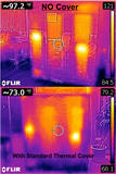 Outdoor l Indoor l Thermal Sauna Cover thermal photo comparing without thermal cover and with thermal cover