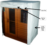 Outdoor l Indoor l Thermal Sauna Cover door flap open with descriptions