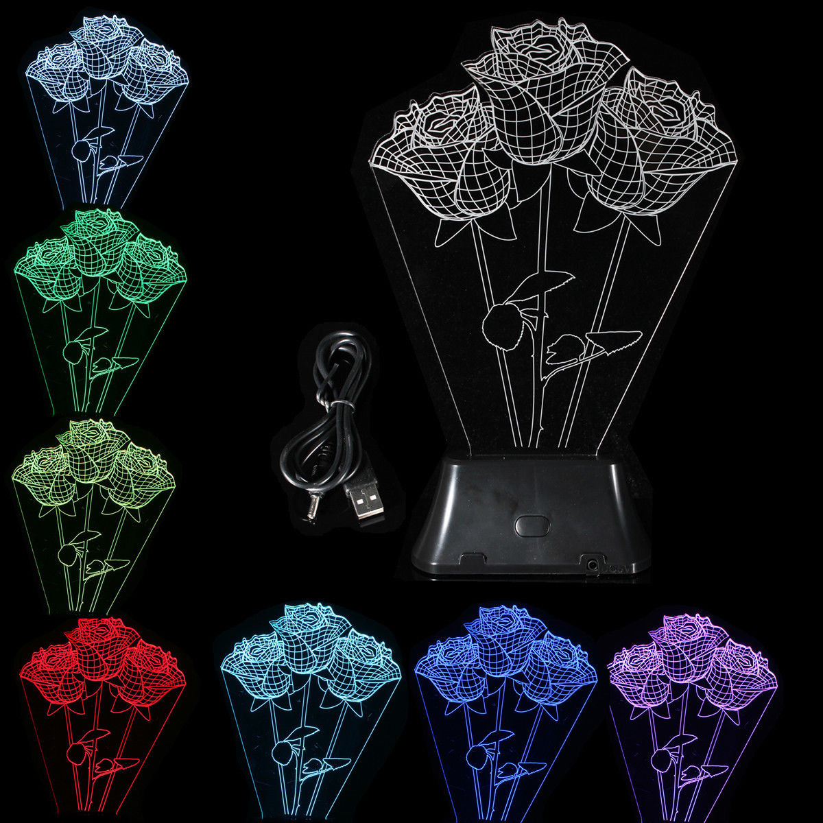 LED Bedside Rose