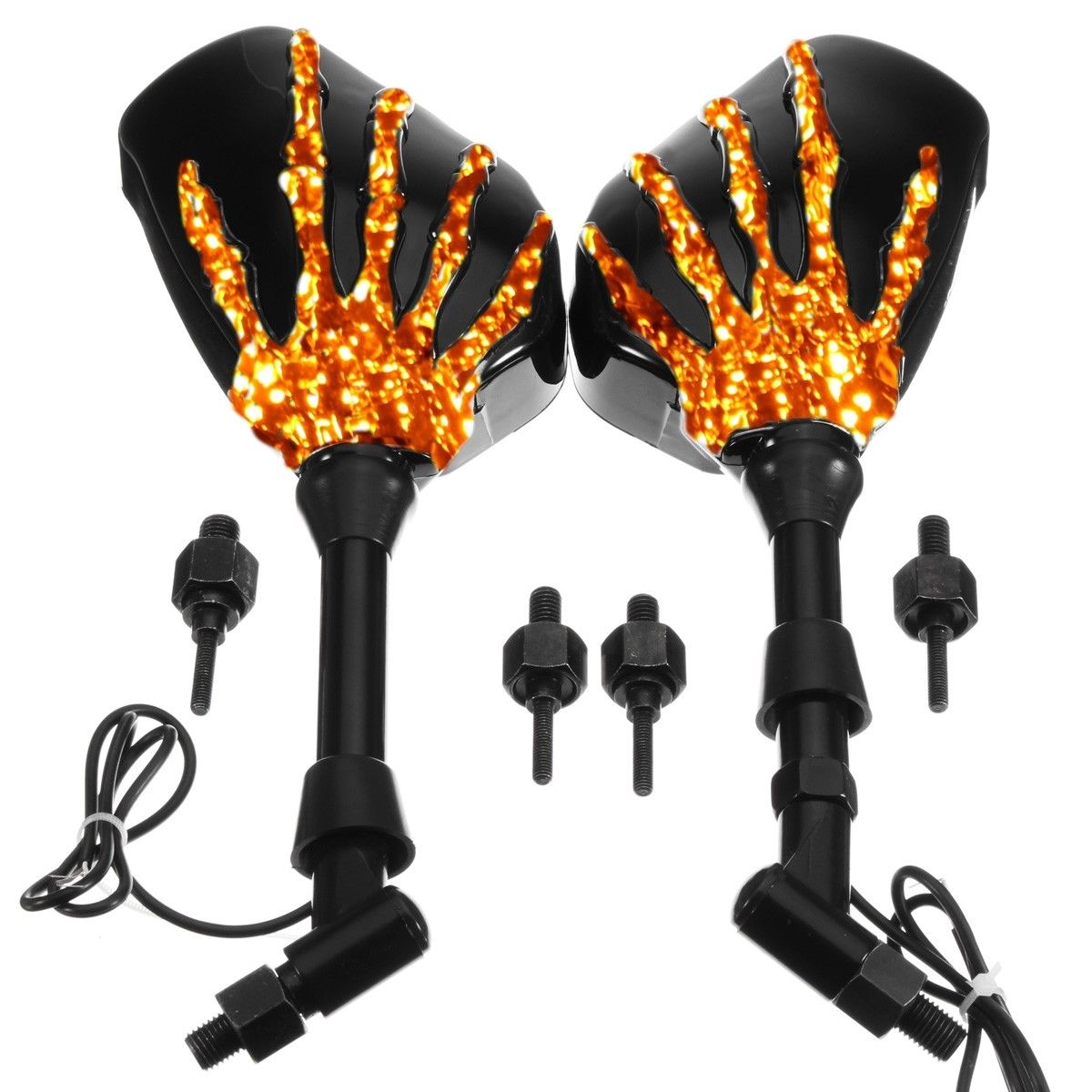 LED Skull Hand Motorcycle Mirrors